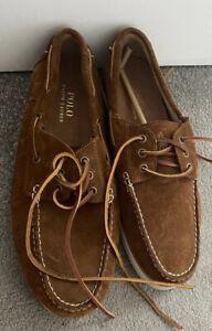 Ralph Lauren Polo Bienne II Boat Deck shoes Suede In Brown U.K size 10 14557 New