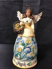 Birthday Angel Figurine March Daffodil Aquamarine Jim Shore Enesco Heartwood B5