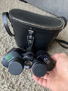 Vintage EDNAR Japan Binoculars w/ Leather Carrying Case 8 X 40 Wide Angle Field