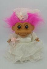 "Vintage 7"" Russ Troll Doll Bride With Veil, Garter, Bouquet Magenta Hair"