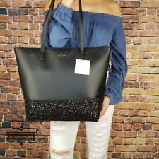 NWT Kate Spade Greta Court Glitter Penny Tote Black Authentic Holiday Christmas