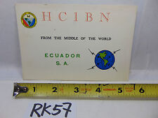 VINTAGE QSL CARD AMATEUR RADIO POSTAL HISTORY 1969 STAMP ECUADOR MIDDLE OF WORLD