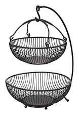 Gourment Spindle 2-Tier Adjustable Basket with Banana Hook, Antique Black Finish