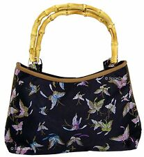 Chinese Handbag - Embroidered Butterfly Pattern - Bamboo Handles