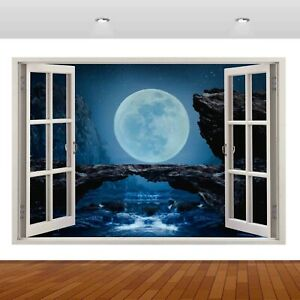 Nature Waterfall Fantasy Moon Lake Night 3D Decal Wall Sticker Poster Vinyl S202