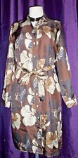 M&S Autograph Long Belted Over Shirt Autumnal Floral Print Uk 14 100% Silk