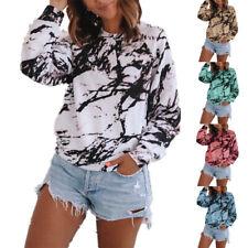 Women Crew Neck Long Sleeve T Shirt Casual Tie-dye Print Blouse Loose Tunic Tops