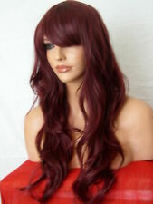 Wig Fashion Long Layered Wavy Heat Resistant Synthetic Hair Wig - Red Plum