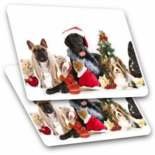 2 x Rectangle Stickers 10 cm - Cute Dogs Cats Christmas Festive #8126