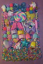 LOLLIPOP Glitter BOW UNICORN Resin Flatback Cabochon Lot DIY Phone Case Deco Kit