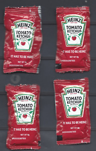 4 HEINZ TOMATO KETCHUP PACKAGES - PANDEMIC SHORTAGE-SCARCE 9g PKG