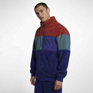 Nike Air Jordan Sherpa Mens Full Zip Jacket Turtleneck Sweater Size L Large