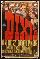 DIXIE MOVIE POSTER 27x40 Australian One Sheet  DOROTHY LAMOUR BING CROSBY 1943