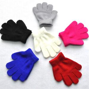 Kids Soft Knitting Winter Warm Gloves Boys Girls Multi Color Star Heart Mittens