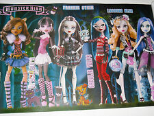 MONSTER HIGH DOLLS MINI POSTER 16 X 11 SPECTRA DRACULAURA CLAWDEEN WOLF GHOULIA