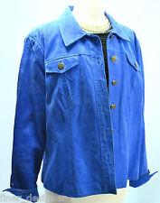 Five 5 Diamonds Blue Suede Leather Button up Tailored Car Coat Jacket Blazer XL