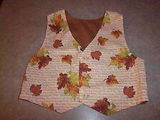 Children's Boys or Girls Fall Leaves Holiday Vest Handmade - Size 3 or 4
