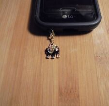 Rhinestone Elephant Cell Phone Clip Charm Gold~Dust Plug Cover~Free Ship