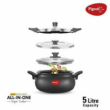 Pigeon Multi Cooking Pot Induction & Gas Kadai Hard Anodised 5 Ltr Indian Handi