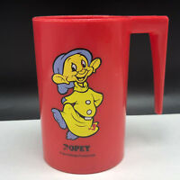 Walt Disney Dopey cup mug snow white seven dwarfs 7 dwarves red vintage cartoon