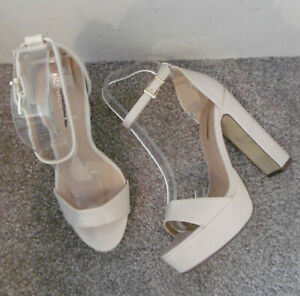 Krush Nude Ankle Strap Two Part Platform Heeled Sandals Size UK 5 EU 38
