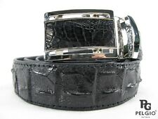 "PELGIO Genuine Crocodile Alligator Backbone Skin Leather Men Belt 46"" Long Black"