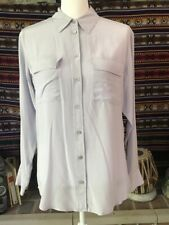 Vintage Equipment Femme Xs Signature Blouse 100% Silk Shell Light Blue Collared