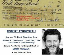 ROBERT FOXWORTH   FILM TV STAGE  ACTOR  HAND SIGNED BANK CHEQUE  1977  RARE ITEM