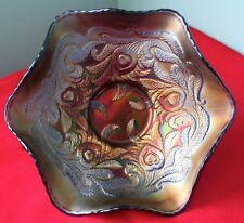 Fenton Heart & Vine Blue Carnival Glass Ruffled Bowl Art Deco 1920s