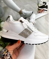 Ladies Wedge Trainers Womens Diamante Sneakers Lace Up Comfy Classic Pumps Shoes