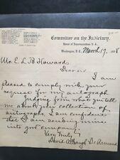 SIGNED ORIGINAL Handwritten letter from Rep. David De Armond(MO)-1908