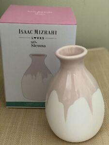 "ISAAC MIZRAHI Loves XO Sienna Ceramic Vase Hand Dipped NEW 6 1/4"" Tall FREE SHIP"