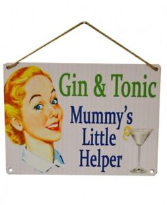 GIN MUMMYS LITTLE HELPER Retro  Metal Sign Plaque Novelty Gift Present for her