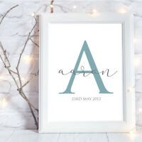 Personalised A4 Print,Initial,Baby,Family,Name,Gift,Wall Art-NO FRAME