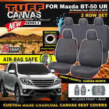TUFF CANVAS Mazda BT-50 UR Dual Cab Seat Covers F+R XT XTR 10/2015-18 BT50 CHARC