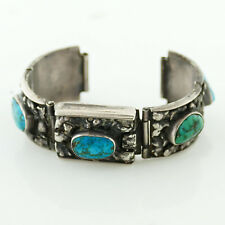 MIDWESTERN STERLING SILVER VINTAGE TURQUOISE 17MM WATCH BRACELET