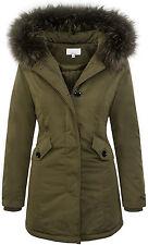 Designer damen winter jacke parka mantel winterjacke gefüttert 36 38 40 42 D-218