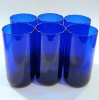 "6 Vintage Libbey Cobalt Blue Glasses Tumblers 5-7/8"" Tall 16oz Premiere Round"