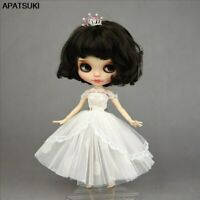 White Lace Handmade Short Tutu Dress For Blythe Doll Outfits Party Gown Outfits