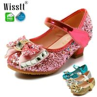 KIDS GIRLS MID HEEL PARTY MARY JANE DIAMANTE EVENING SANDALS WEDDING DRESS SHOES
