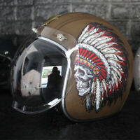 Vintage Motorcycle Helmet Open Face Indian Chief for Street Bike Cruiser Scooter