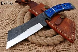 """10"""" Custom Hand Forged Railroad High Carbon Steel Hunting Cleaver Knife (716)"""