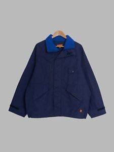 Mickey Brazil purple navy canvas three pocket high neck jacket - S M