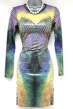 Stunning Topshop Liquid Print Long Sleeve Bodycon Evening Dress Size 8
