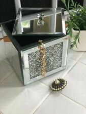 LOOSE DIAMANTE MIRRORED TRINKET BOX CRYSTAL GLASS JEWEL FILLED JEWELERY BOX NEW