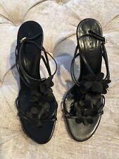 Celine Pumps Strappy Heels Black Leather Floral Sandals Sz 37.5 B