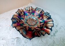 Vintage Carnival Glass Dish Bowl Blue/Purple Iridescent Leaf Holly Berry Ruffled