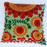 "16x16"" Indian Cotton Pillow Cases Handmade Suzani Embroidery Cushion Cover IFC16"