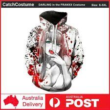 Darling in the Franxx Zero Two Hoodie Anime Costume 3D Printed Sweatshirt Coat
