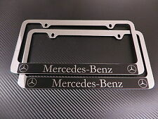 2 Brand New Mercedes-Benz HALO chromed METAL license plate frame +screw caps